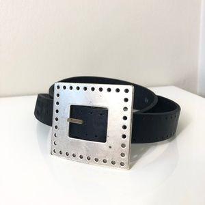Silpada Designs Black Leather Silver Buckle Belt M